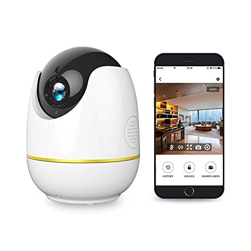 Wlan IP Kamera, Netvue 720P HD Wireless Home Cam Kompatibel mit Alexa Echo Show, 360 Grad Sicherheit Babyphone mit Pan / Tilt / Zoom, Zwei-Wege-Audio, Nachtsicht, Remote Motion Detect Alarm, Baby / Elder / Pet / Nanny Monitor, Weiß (Indoor Kamera Tilt)