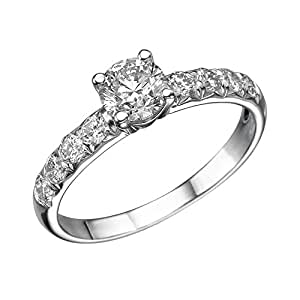 1 ctw. Round Diamond Solitaire Engagement Ring in 18k White Gold Certified (G Color / VS2 Clarity Enhanced)
