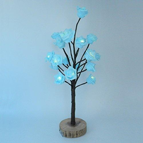 Batteriebetrieben W/Timer blau Rose Weihnachtsbaum Tabletop LED-Licht beleuchtet, 20 warmweiße LEDs, rustikale Vintage Holz Boden,für Home/Party/Hochzeit/Festival/Dekoration im