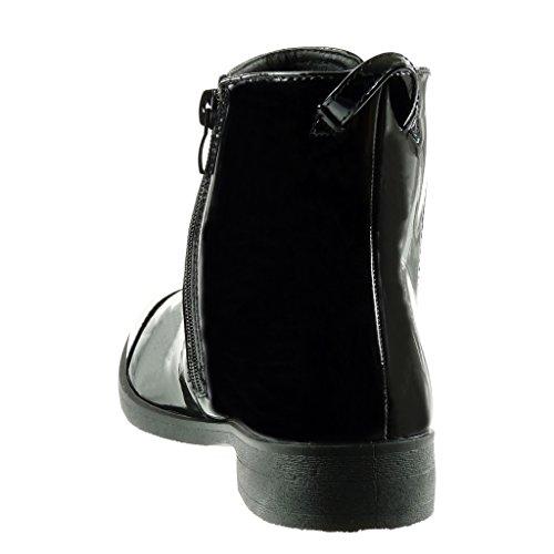 Angkorly - damen Schuhe Stiefeletten - Chelsea Boots - Reitstiefel - Kavalier - Gummistiefel - Patent - elastisch Blockabsatz 3 CM Schwarz