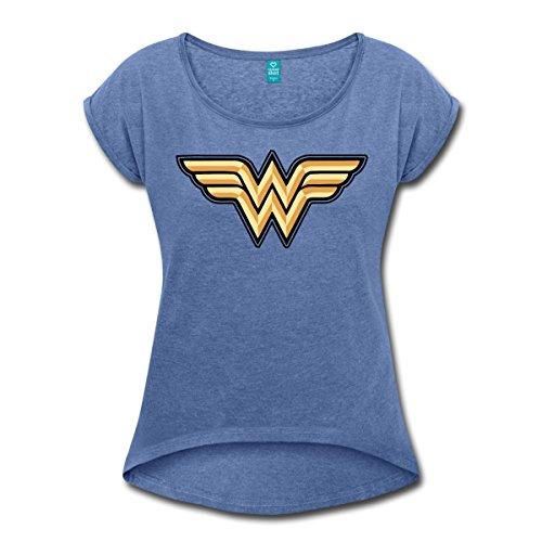 Spreadshirt DC Comics Wonder Woman Logo T-Shirt à Manches Retroussées Femme, M, Bleu Jeans Chiné