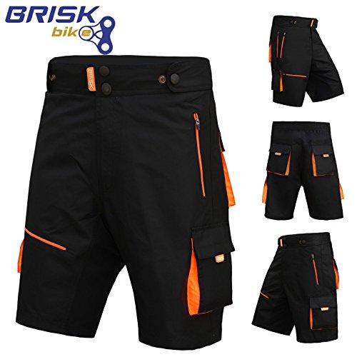 Brisk MTB Shorts, Coolamax Gepolsterte, herausnehmbare Innenfutter, Free Style Erwachsene Größe (schwarz / orange, klein)