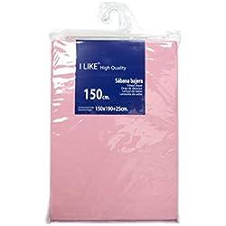 I LIKE Sabana Bajera Ajustable Rosa 100% ALGODÓN Cama 150 (150 X 190 + 25 cm)