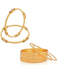 The Luxor Gold Plated Regular Wear Australian Diamond & Meenakari Studded Bangles Set For Women