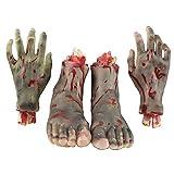 4 Pezzi Realistica Umano Mano e piede Scary Sanguinolente Parti del Corpo per decorazioni di Halloween Party Props - Nero