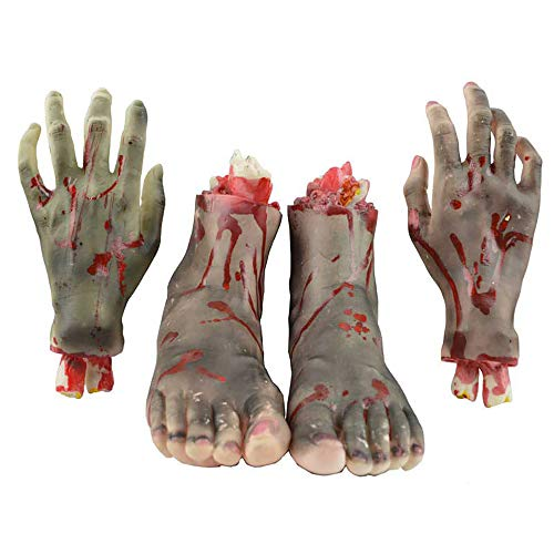 Forepin 4 Teilig Halloween Dekoration Realistische Latex blutig Hand mit Fuß Scary Blut Körperteile für Halloween Party Indoor Outdoor Prop und Cosplay Decor - Schwarz