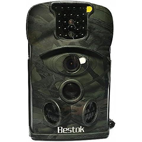 Bestok 8210A 940nm Infrarroja Invisible 120° Gran Angular la Vigilancia Digital Impermeable Rastro Caza Cámara Fauna Salvaje al Aire Libre Ensayo Cámara sin la tarjeta SD(Camo