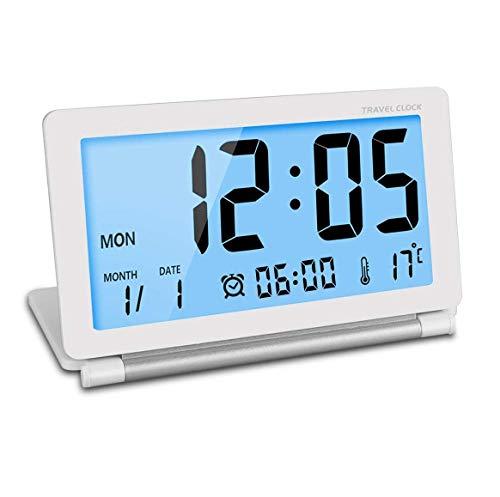 Manfore Reisewecker, Batteriebetrieben Digitaler Reisewecker/Digitalwecker / Tischuhr mit Nachtlicht, Schlummerfunktion, LCD Temperatur/Datums Anzeige für Zuhause Büro Reise benutzen (Weiß)
