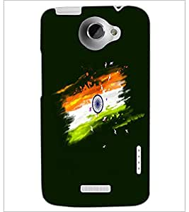 PrintDhaba Indian Flag D-4697 Back Case Cover for HTC ONE X (Multi-Coloured)