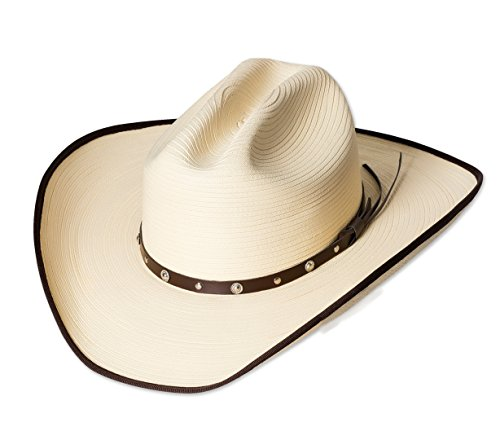 Stars & Stripes Western Cowboyhut Strohhut Denver Westernhut Cowboyhut Westernkleidung Strohhut für Damen und Herren (Medium) Beige
