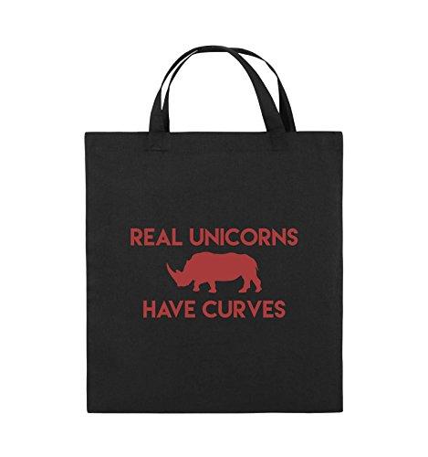 Comedy Bags - REAL UNICORNS HAVE CURVES - Jutebeutel - kurze Henkel - 38x42cm - Farbe: Schwarz / Silber Schwarz / Rot