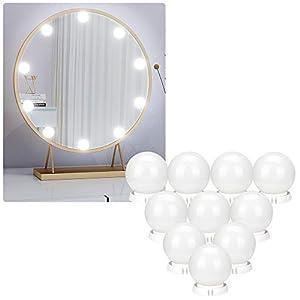 Mitening Hollywood-Stil LED Spiegelleuchte, Schminkspiegel mit Licht Schminklicht 7000K Schminktisch Beleuchtung für Kosmetikspiegel Badzimmer Spiegel, 10 Dimmbar LED-Lampen [Energieklasse A+++]