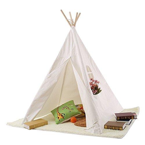 Produktbild Pericross™ Indianerzelt Kinder Spielzelt Tipi mit 1 Fenster 2 Taschen Weiß