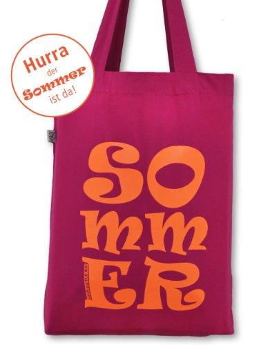 """cooler Retro Kult Stoffbeutel """"SOMMER"""" von STOFFZUCKER Druckfarbe Neon Orange pink"""