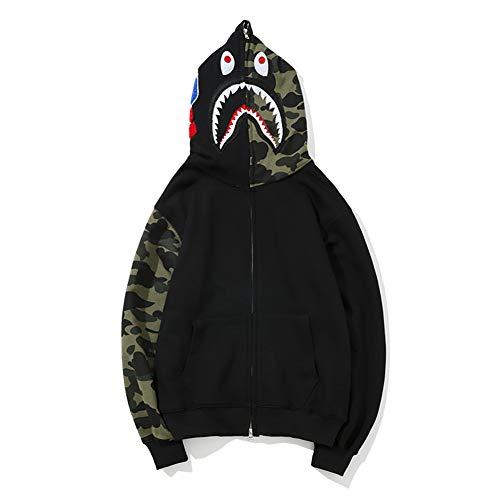 Bape Hoodie Boys Fashion Bape Half Camouflage Shark Head Zip Sweater Black Men Boys