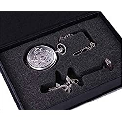 Cosplay Full Metal Alchemist Edward Elric Pocket Watch Cross Snake Necklace and Ring In Box