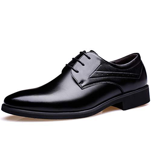 HILOTU Moda de los Hombres de Negocios Oxford Zapatos Formales de Cuero de Microfibra Informales 2'/ (6 cm) Altura extraíble Plantilla de Aumento de Altura (Color : Taller Black, tamaño : 44 EU)