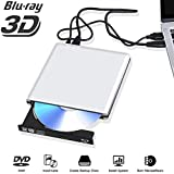 Unidad Externa BLU Ray Lector DVD Externo 3D, USB 3.0 Grabadora DVD Externa óptica de BLU-Ray de DVD Reproductor de RW portátil Compatible para MacBook OS Windows 7 8 10 PC