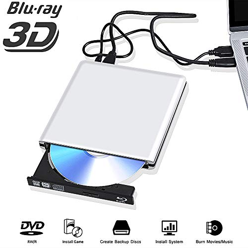 Externe Blu Ray DVD Laufwerk 3D 4K,USB 3.0 Blueray CD DVD Rom Player BrennerTragbar für PC MacBook iMac Mac OS Windows 7/8/10/Vista/XP