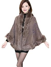 iLoveSIA Poncho Cape Femme manteau avec bordure en fourrure