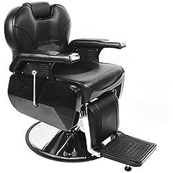 Anaelle Pandamoto Fauteuil de Coiffeur Classic Hydraulique Inclinable Barber Reclinable 360°en PU Cuir avec Chrome Repos Pied pour Salon Professionnel et Maison, Taille: 96*94*84cm, Poids: 52kg, Noir