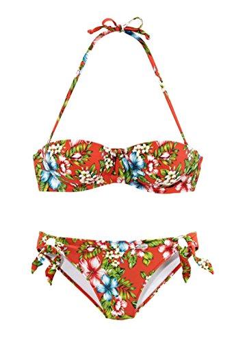 BUFFALO Damen-Bikini Marken-Bikini Balconette-Bikini rot-bunt (34 (65))