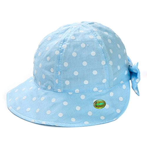 LOCOMO Girl Kid Cute Polka Dot Dotted Ribbon Bow Bucket Hat Beach FBH022BLUL