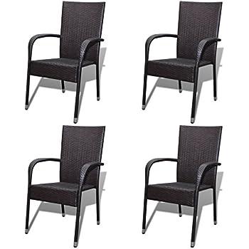 Festnight 4er Set Gartenstühle Essgruppe Stühle Aus Poly Rattan Stapelbar  Gartenstuhl Set Gartensitzgruppe