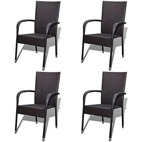 Festnight 4er Set Gartenstühle Essgruppe Stühle Aus Poly Rattan Stapelbar  Gartenstuhl Set Gartensitzgruppe Für Terrasse Oder Garten   Braun