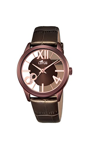 Lotus Women's Quartz Watch with Brown Dial Analogue Display and Brown Leather Strap 18309/1