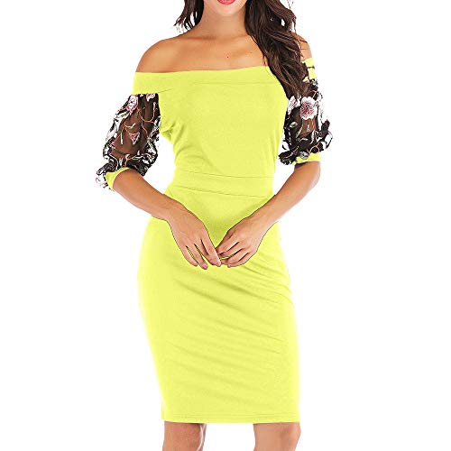 YAN Women es Bodycon Dress Spring Summer Polyester bestickte Lace Sleeves Off Shoulder Mini Short Dresses Evening Gown,Green,M
