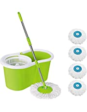 DAIVE's Mop Floor Cleaner with Bucket Set Offer with Big Wheels for Best 360 Degree Easy Magic Cleaning, (Green) with 4 Microfiber