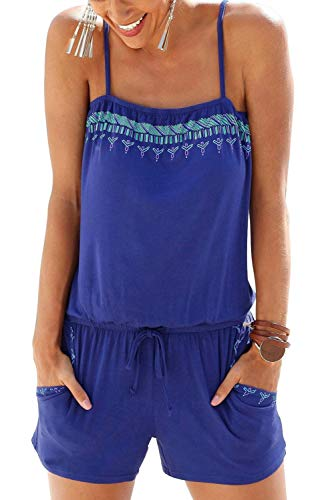 mmer Mode Blumenmuster Ärmellos Elegante Embroidery Bodysuit Schulterfrei Sommermode Trendigen Wickelbody Festlich Jumpsuit (Color : Royal Blue, Size : S) ()