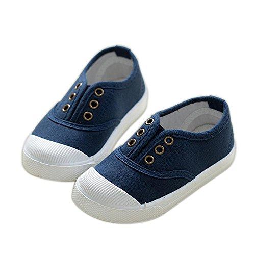 ALUK- Chaussures De Toile Pour Enfants Petits Chaussures Blanches Chaussures Bébé Étudiants Chaussures ( couleur : Bleu foncé , taille : 22 ) Bleu foncé
