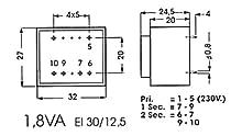 Info Games 138799 Print Transformateur, 1.8 VA, 1 x 9 V, 1 x 0.200 Amp