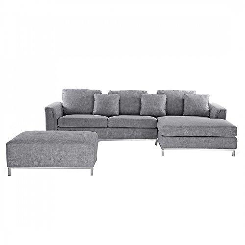 Divano grigio chiaro in tessuto - divano angolare componibile - sofa moderno - oslo s