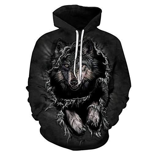 YBCJYBHZ Mountain Wolf Hoodies 3D - männer Kapuzenpulli Sweatshirt Kapuzen - Pullover cool Tier Print trainingsanzüge Unisex - 6XL Outwear Junge mäntel,6XL