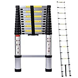 5M/16.4ft Aluminum Extension Foldable Telescopic Ladder Straight Telescoping Ladders Capacity 150kg/330lb with Certificate EN 131