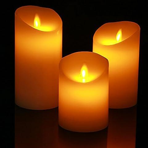 Homemory Lot de 3 Bougies Piliers LED à Piles en Cire Véritable,sans flamme , Flamme Vacillante, Fonctionnement sur Piles Batterie Pas Cher,Blanc Ivoire, Votive, Anniversaire, Mariage
