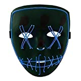 Halloween LED Máscaras, URAQT Máscaras para Adultos, Craneo Esqueleto Mascaras,para la Navidad Halloween Cosplay Grimace Festival Party Show, Batería motorizado(no Incluido),Luz Azul