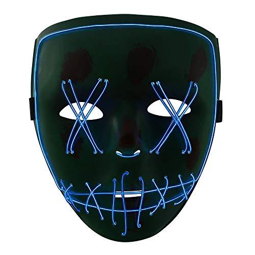 Peiti Wudong Halloween Maske, Erschreckend LED leuchten Maske Für Festival Party Cosplay Karneval Halloween Accessoires Grimasse Maske, Batterie Angetrieben(Nicht Enthalten) -Grün + blau