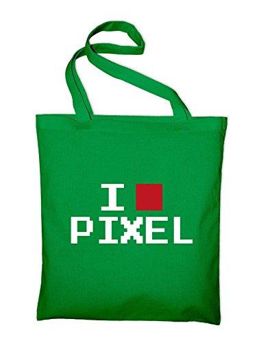 Amo La Borsa In Juta Divertente Pixel Geek, Sacchetto, Borsa Di Stoffa, Sacchetto Di Cotone, Verde Giallo