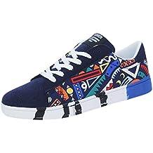 beautyjourney Zapatillas de Lona Planas para Hombre Zapatos de Deporte con Cordones Calzados Casuales sin Deslizamiento