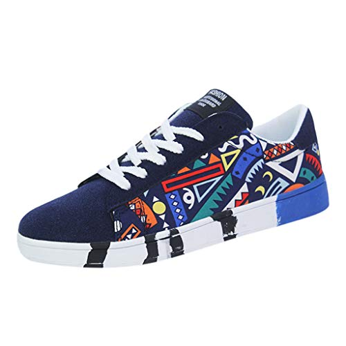 B-commerce Herren Segeltuchschuhe - Mode Lässig Lace Up Bunte Patchwork Sportschuhe Sneakers Schnürung Mode Männer Graffiti Schuhe Leopard Print Wedge Slingback