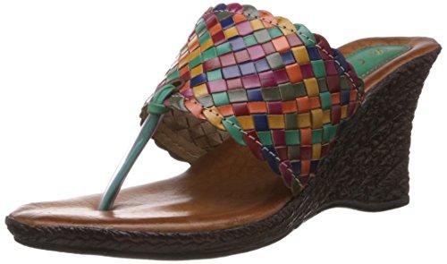 Catwalk Women's Turquoise Leather Slippers - 7 UK