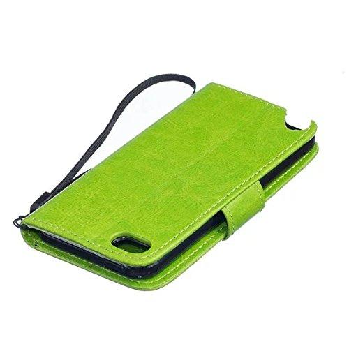 iPhone Case Cover Haute Housse en cuir Premium Quality PU Cover Solid Color Dandelion gaufrage Wallet Support Housse pour iPod Touch5 6 ( Color : Black , Size : IPod Touch5 6 ) Green