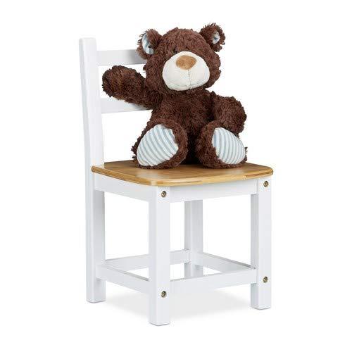 Relaxdays Kinderstuhl Rustico aus Bambus, Für Jungen und Mädchen, Kinderzimmer Stuhl, HBT: ca. 50 x 28,5 x 28 cm, weiß/Natur