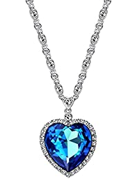 Ananth Jewels Swarovski Crystal Blue Titanic Ocean Heart Pendant Necklace Jewellery for Women