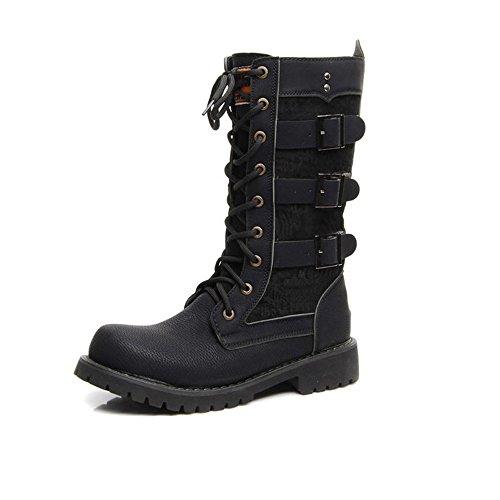 Mitte Kalb Casual Stiefel (Casual Suede Shoe Herren Schuhe Schnürung Gürtelschnalle PU-Leder Mitte Kalb Kampfstiefel für Herren eine Größe Laufen Lassen Herren Sneaker (Color : Schwarz, Größe : 6.5 UK))