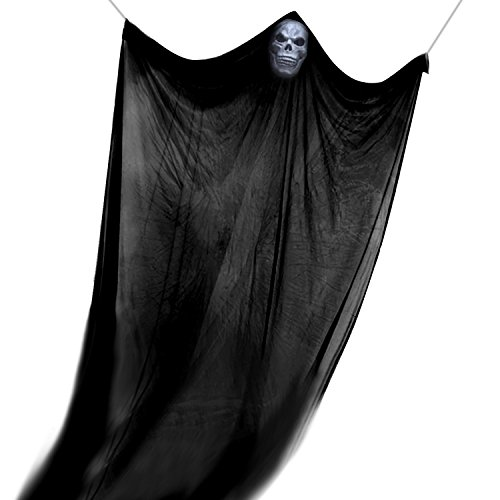 Halloween Ghost Dekorationen Halloween Hanging Ghost mit Ghost Maske, TIME4DEALS Flying Ghost Hanging Skelett für Halloween Haus Dekoration (Schwarz)